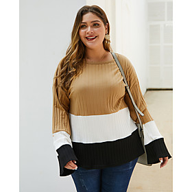 Women's Plus Size Blouse Shirt Color Block Long Sleeve Print Round Neck Tops Basic Basic Top Khaki