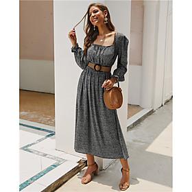 Women's A-Line Dress Midi Dress - Long Sleeve Print Split Print Fall Winter Square Neck Elegant Cotton 2020 Black Blue Yellow Wine S M L XL