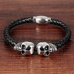 Men's Bracelet Braided Skull Fashion Titanium Steel Bracelet Jewelry Black For Anniversary Gift