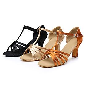 Women's Latin Shoes Heel Cuban Heel Satin Black / Gold / Brown