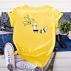 Women's T-shirt Fruit Print Round Neck Tops 100% Cotton Basic Basic Top White Yellow Blushing Pink