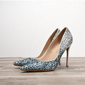 Women's Wedding Shoes Spring / Summer Stiletto Heel Pointed Toe Wedding PU Black / Silver / White / Purple
