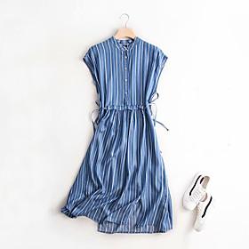Women's A-Line Dress Knee Length Dress - Sleeveless Striped Print Summer Casual Cotton 2020 Blue Light Blue M L