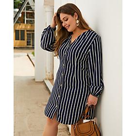 Women's Shift Dress Knee Length Dress - Long Sleeve Striped Print Spring Summer V Neck Plus Size Casual 2020 Royal Blue XL XXL 3XL 4XL