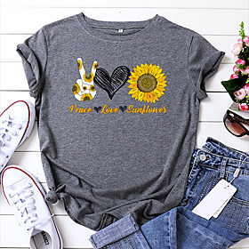 Women's T-shirt Floral Letter Flower Print Round Neck Tops 100% Cotton Basic Basic Top White Yellow Blushing Pink