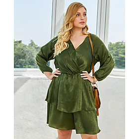 Women's A-Line Dress Knee Length Dress - 3/4 Length Sleeve Solid Color Spring Summer V Neck Plus Size Casual 2020 Blue Wine Green XL XXL 3XL 4XL
