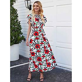 Women's A-Line Dress Maxi long Dress - Short Sleeve Floral Bow Spring Summer V Neck Casual Elegant 2020 Rainbow S M L XL