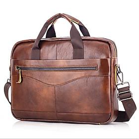 Men's Bags Cowhide Laptop Bag / Briefcase / Top Handle Bag Belt Zipper for Daily / Office  Career Black / Brown / Coffee