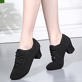 Women's Latin Shoes Heel Cuban Heel Denim Black / Red / Performance