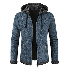Men's Casual / Daily Classic Hooded Solid Colored Cardigan Long Sleeve Sweater Cardigans Hooded Fall Winter Blue Red Dark Gray