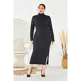 Women's Sheath Dress Midi Dress - Long Sleeve Solid Color Split Fall Plus Size Sexy Oversized 2020 Black Blue Wine XL XXL 3XL 4XL 5XL