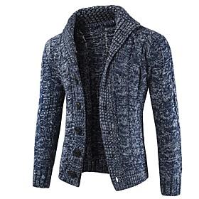 Men's Color Block Solid Colored Cardigan Long Sleeve Sweater Cardigans Shirt Collar Dark Gray Navy Blue Beige