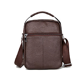 Men's Bags Cowhide Crossbody Bag Zipper for Birthday / Office  Career Black / Brown / Fall  Winter