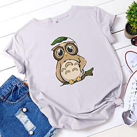 Women's T-shirt Animal Print Round Neck Tops 100% Cotton Basic Basic Top White Black Yellow