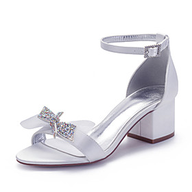 Women's Wedding Shoes Spring / Summer Cuban Heel Open Toe Classic Sweet Minimalism Wedding Party  Evening Rhinestone / Bowknot / Sequin Solid Colored Satin Whi
