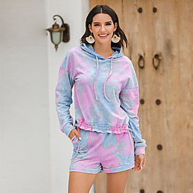 Women's Two Piece Set Basic Drawstring Set Tops Pant Set Tie Dye Hooded