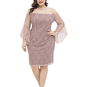 Women's Shift Dress Knee Length Dress - Long Sleeve Solid Color Summer Off Shoulder Plus Size Casual 2020 Blushing Pink XL XXL 3XL 4XL