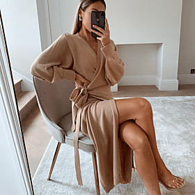 Women's Sweater Jumper Dress Midi Dress - Long Sleeve Solid Color Spring Fall V Neck Holiday 2020 Khaki S M L XL XXL