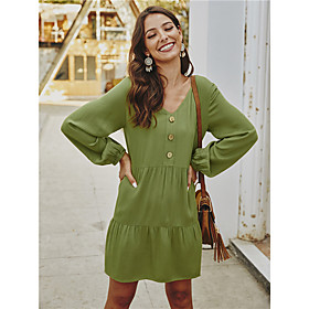 Women's A-Line Dress Short Mini Dress - Long Sleeve Solid Color Ruched Fall V Neck Casual 2020 Black Army Green Orange S M L XL