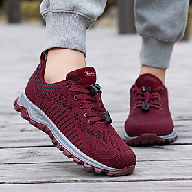 Women's Trainers / Athletic Shoes Flat Heel Round Toe Outdoor Lace-up Tissage Volant Fitness  Cross Training Shoes Black / Burgundy
