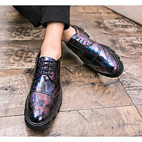 Men's Boots Work Boots British Daily PU Non-slipping Booties / Ankle Boots Black / Purple / Yellow Camouflage Fall / Winter