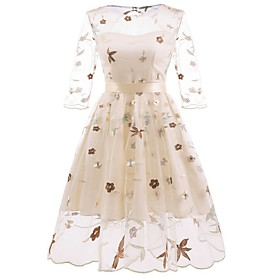 Women's A-Line Dress Knee Length Dress - 3/4 Length Sleeve Solid Color Embroidered Patchwork Summer Fall Sexy Party Slim 2020 Blushing Pink Beige S M L XL XXL