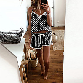 Women's Two Piece Set Basic Drawstring Set Tops Pant Set Striped V Neck