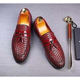 Men's Loafers  Slip-Ons Casual Daily PU Wear Proof Wine / Black / Blue Striped Fall / Tassel / Tassel