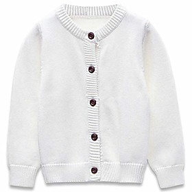 knit cardigan sweaters baby boys girls , cotton solid color basic sweater, white, 4t/110