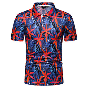Men's Daily Polo Graphic Short Sleeve Tops Navy Blue