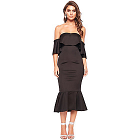 Women's A-Line Dress Knee Length Dress - Short Sleeve Solid Color Ruffle Patchwork Fall Off Shoulder Sexy Party Slim 2020 Black S M L
