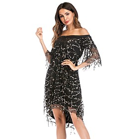 Women's A-Line Dress Midi Dress - Half Sleeve Solid Color Sequins Mesh Patchwork Summer Off Shoulder Elegant Party Club 2020 Black Red S M L XL XXL