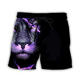 Men's Basic Streetwear Daily Holiday Loose Sweatpants Shorts Pants Print Print Drawstring Breathable Summer Black US32 / UK32 / EU40 US34 / UK34 / EU42 US36 /
