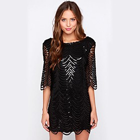 Women's A-Line Dress Short Mini Dress - 3/4 Length Sleeve Solid Color Sequins Spring Fall Off Shoulder Elegant Sexy Party Going out 2020 Black Gold S M L XL XX