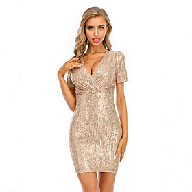 Women's A-Line Dress Short Mini Dress - Short Sleeve Floral Solid Color Sequins Fall V Neck Sexy Party Club Slim 2020 Black Gold S M L XL XXL