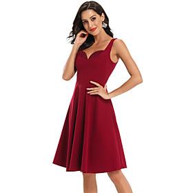 Women's A-Line Dress Knee Length Dress - Sleeveless Solid Color Summer V Neck Sexy Party Slim 2020 Wine Navy Blue S M L XL XXL