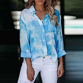 Women's Plus Size Blouse Shirt Tie Dye Long Sleeve Standing Collar Tops Basic Basic Top Blue Blushing Pink Green