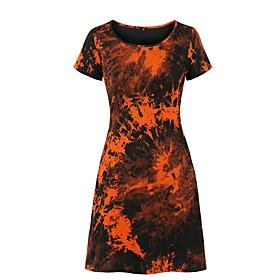 Women's A-Line Dress Knee Length Dress - Short Sleeve Tie Dye Print Summer Casual 2020 Black S M L XL