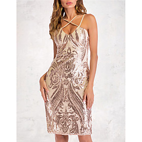 Women's A-Line Dress Short Mini Dress - Sleeveless Solid Color Sequins Embroidered Summer V Neck Sexy Party Club 2020 Gold S M L XL XXL
