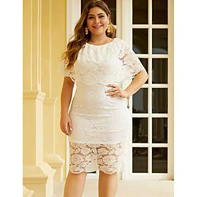 Women's Shift Dress Knee Length Dress - Short Sleeve Solid Color Lace Summer Boho Holiday Loose 2020 White Black XL XXL 3XL 4XL 5XL