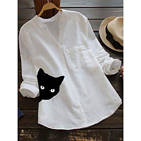 Women's Blouse Shirt Cat Long Sleeve Print V Neck Tops Cotton Basic Basic Top White Red Yellow