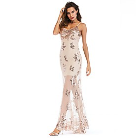 Women's A-Line Dress Maxi long Dress - Sleeveless Floral Backless Embroidered Summer Strapless Sexy Party Club Slim 2020 Gold S M L XL XXL