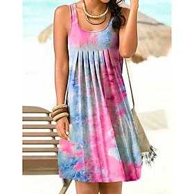 Women's A-Line Dress Knee Length Dress - Sleeveless Tie Dye Summer Boat Neck Casual Sexy Going out Slim 2020 Blue Purple Green S M L XL XXL 3XL 4XL 5XL