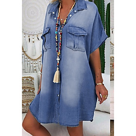 Women's Denim Shirt Dress Knee Length Dress - Short Sleeve Summer V Neck Casual Hot 100% Cotton 2020 Blue Dusty Blue Light Blue S M L XL XXL 3XL