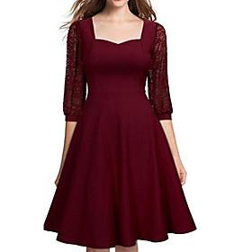 Women's A-Line Dress Knee Length Dress - 3/4 Length Sleeve Solid Color Patchwork Fall Elegant Party Lantern Sleeve Slim 2020 Black Blue Wine S M L XL XXL