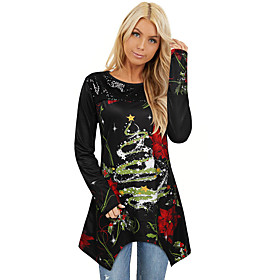 Women's Christmas Tunic Floral Abstract Leaf Long Sleeve Lace Print Asymmetric Round Neck Tops Basic Christmas Basic Top Black