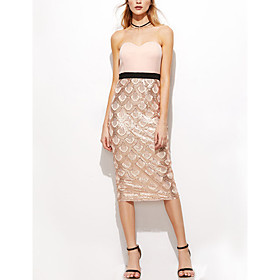 Women's A-Line Dress Short Mini Dress - Sleeveless Solid Color Backless Sequins Summer Strapless Sexy Party Club 2020 Blushing Pink S M L XL XXL