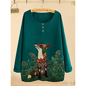 Women's Blouse Shirt Animal Fox Long Sleeve Round Neck Tops Loose Basic Top Blue Blushing Pink Green