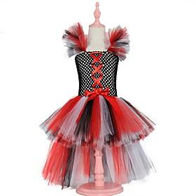 Kids Girls' Basic Color Block Halloween Layered Patchwork Sleeveless Above Knee Dress Rainbow