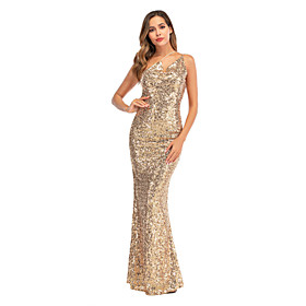 Women's A-Line Dress Maxi long Dress - Sleeveless Solid Color Sequins Embroidered Tassel Fringe Summer Strapless Sexy Party Club 2020 Gold S M L XL